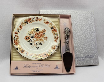 Hostess gift Wedgwood & Co Ltd Party Set in original box with sterling silver server.