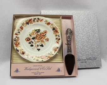Wedgwood & Co Ltd Party Set in original box with sterling silver server.