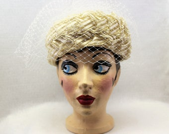 Intricately Woven Ribbon Vintage Formal Hat, Ivory and Tan Hat with Birdcage Veil, Union Made Millinery
