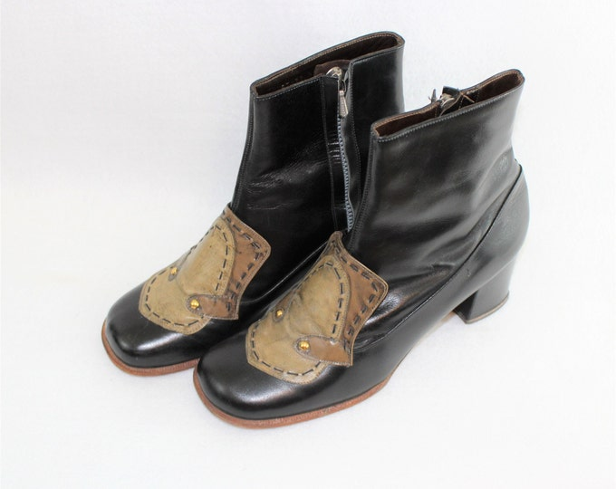 Women's Leather Boots. 60's MOD Black Leather Ankle Boots size 7 1/2 Narrow with Decorative Toe details in size 7 1/2 AA,  Narrow width