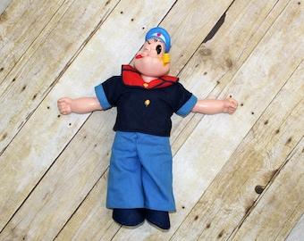 Popeye the sailor man doll. Vintage 1970's vinyl original Popeye.