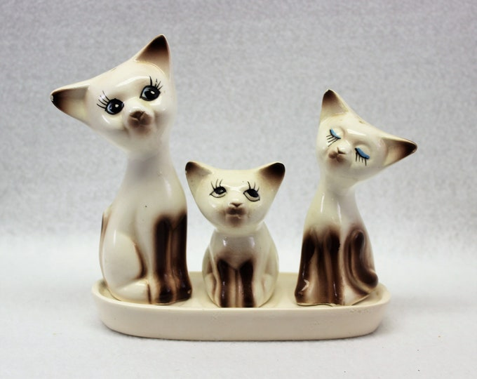 Cat Salt and Pepper Set with Toothpick Holder and Tray, Kitschy S&P Cat Collectible,
