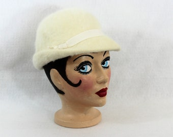 White Hat, Angora Fedora Hat by Betmar.  Vintage cream angora hat made in France by Betmar.