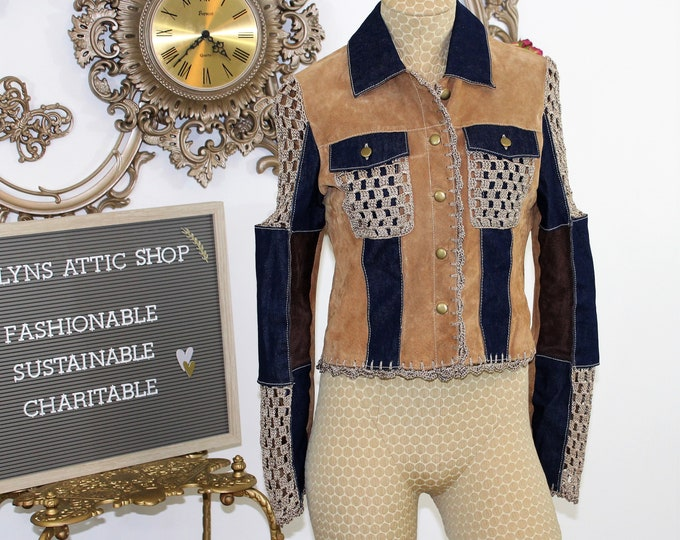 Patchwork Jacket size Small.  Suede and Denim Jacket with Crochet details in size S.  Blue and Tan Wilson Leather Maxima Hippie Chic Jacket