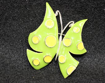 Vintage Butterfly Pin.  Bright Lime Green with yellow polka dots Brooch.   MOD style pin.