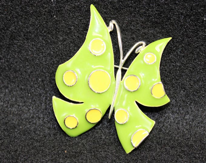 Vintage Butterfly Pin or Brooch in Bright Lime Green with yellow polka dots. MOD style butterly pin.