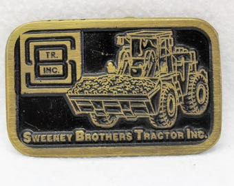 Vintage Solid Brass Belt Buckle for Sweeney Brothers Tractor Inc.
