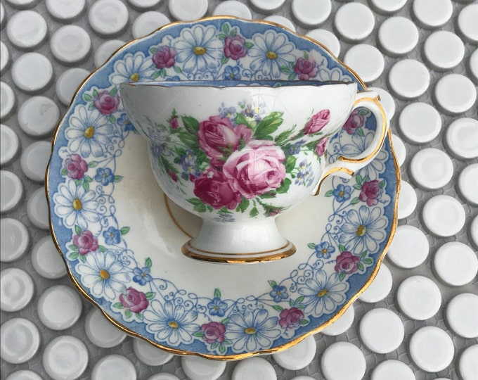 Tea Cup and Saucer with Roses and Daisies by Rosina.  Vintage Blue and Pink English Teacup and Saucer.