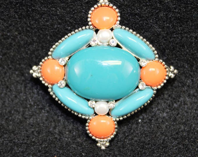 Vintage Turquoise look pin with coral colored accents and faux pearls  Brooch Teal color Vintage jewelry vintage accessory
