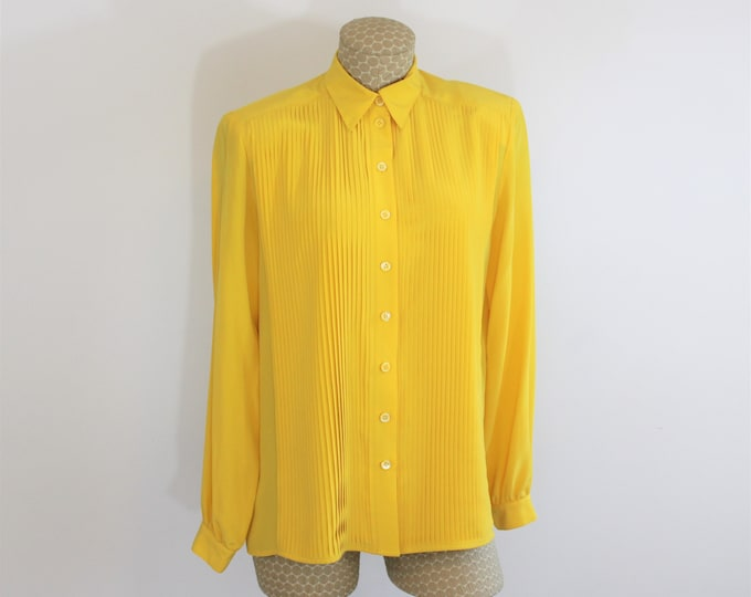 Yellow Silk Blouse with Pleated Front by Count Bronzini Designer Collection.  Marigold Color Long Sleeve Silk Shirt Vintage