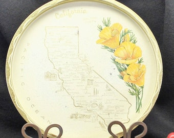 Round California Metal Souvenir tray.  Travel Memento CA, Kitschy Vacation Item.  Vintage RV Decor.