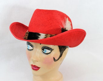Red Cowboy Hat Size 7.  Western Hat Cowgirl. Neiman Marcus Collection Red River Hat. Woman's Quality Red Straw hat.