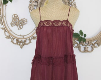 Vintage night gown made by Annique  by Rosa Pulea Szule petite 100 % nylon Burgundy color Size 34 or small