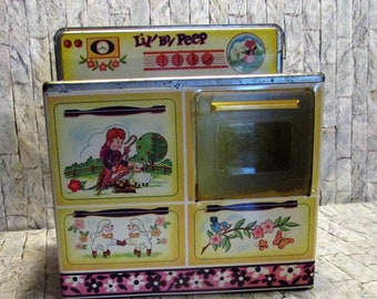 Vintage Lil Bo Peep tin litho stove oven by wolverine  Vintage children's collectible toy.