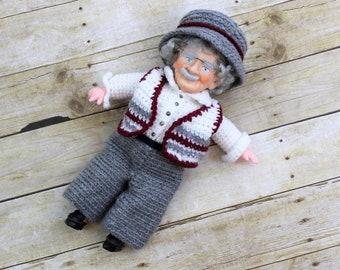 Handmade vintage Grandpa crochet doll, excellent condition.