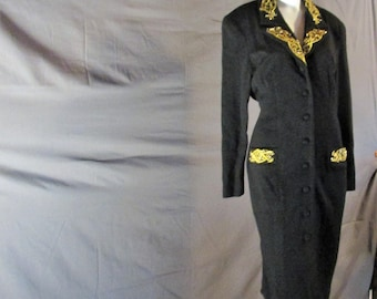 Vintage black coat dress size 14 by Eleanor P Brenner with gold and bead embellishments work attire funeral attire.