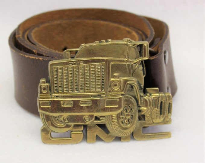 GMC Truck Belt Buckle, Solid Brass Belt Buckle,  1980 Baron GMC Belt Buckle, Leather Belt size 38