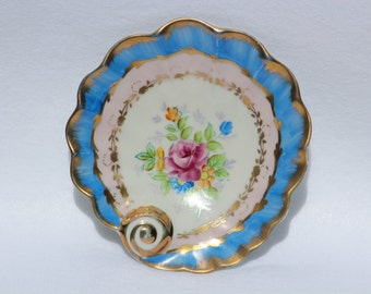 """Trinket tray plate  Shell  Vintage Hand painted Shell Plate marked """"PaulUx"""".  Blue and Pink Floral"""