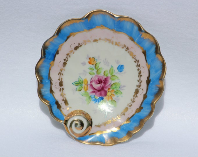 "Trinket tray plate  Shell  Vintage Hand painted Shell Plate marked ""PaulUx"".  Blue and Pink Floral"