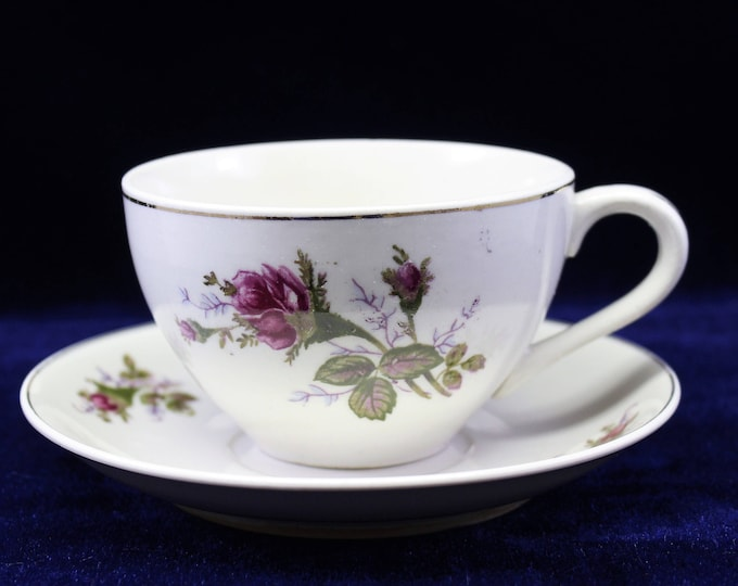 Cabbage Rose Vintage Tea Cup with matching saucer   Creamy white with cabbage rose transfer pattern  Great for Bridal or Baby Shower Favor