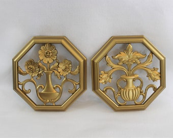 Pair of Gold Syroco Octagonal Wall Art Set circa 1960's - 1970's