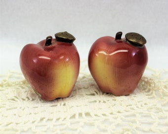 Vintage Red Apple Salt and Pepper Shakers by Enesco with Original Foil Sticker.  Collectible Fruit S and P