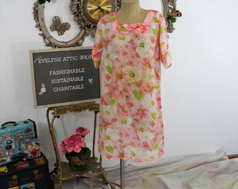 Vintage Homemade Sheer Pink Floral House Dress.  OOAK Short Sleeved Day Dress or nightie with Bright happy flower print.