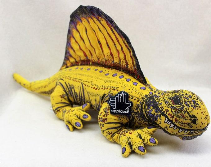 Vintage Applause Toy Dinosaur Dimetrodon.   Bright Yellow Stuffed 1992 Applause dinosaur with original tag