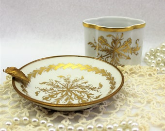 Limoges France 2 pc. Napoleon Bee Ashtray Set. Limoges White Gold Trinket or Ash Tray matching small vase