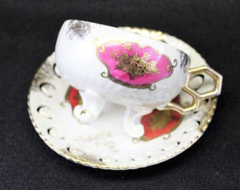 Magenta & Gold Tea Cup with matching Saucer.  Mad Hatters Tea Party.