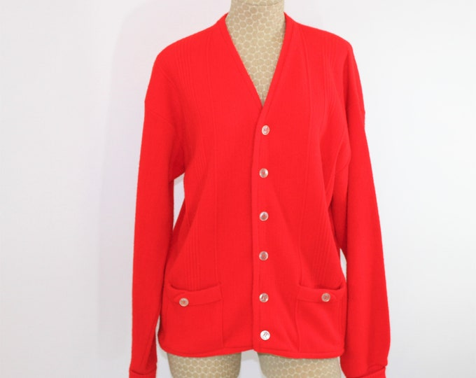 Red Vintage Cardigan by Sarby size Large.  Vintage 1960's Grandpa Sweater