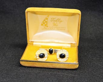 Cufflinks and Tie Clip in original box by Tally Hi.  Vintage Men's Gold and black Rhinestones Cuff Links and Tie Bar