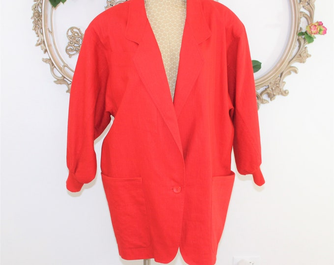 Red 1980's Oversized Long Blazer or Jacket with Shoulder Pads and Push Up Sleeves in Vintage Size M Medium by Adam Douglass.