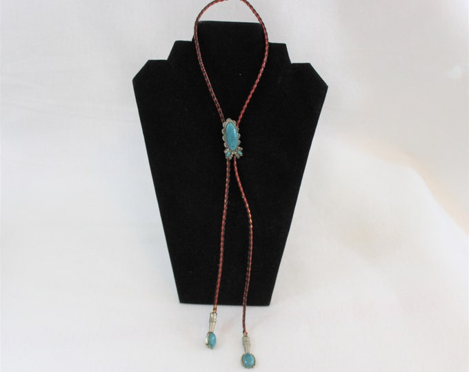 Vintage Bolo Tie with Red and Black Cord Lariat and Turquoise Accents.  Unisex Southwestern gift.