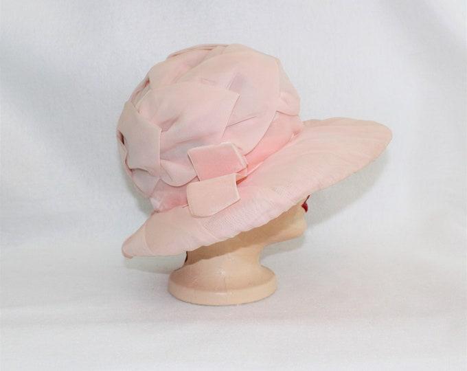 Pink Chiffon Hat with Velvet Ribbon Trim vintage 1950's.  Church Wedding or Tea Party Hat.