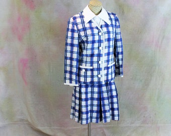 Day Dress. 1970's Blue Plaid Designer Dress with Jacket vintage size 12. Vintage Summer Dress by Randazzo Designer