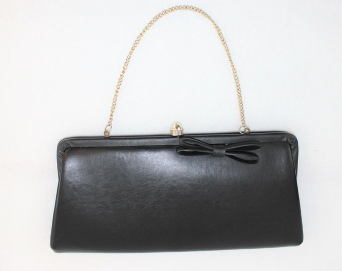 Small Black Purse Clutch.  Vegan Leather Purse with Bow.  Vintage Black Purse or Clutch with chain handle.