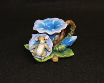 """Fitz and Floyd Charming Falls """"Morning Glory"""" Candleholder  Flower Mouse  Candle  Nature  Collectible"""