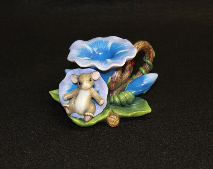 "Fitz and Floyd Charming Falls ""Morning Glory"" Candleholder  Flower Mouse  Candle  Nature  Collectible"