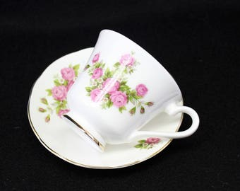 Tea Cup and Saucer by Connoisseur. Pink Roses Tea Cup. High Tea.  Tea Party.  Mad Hatters. Bridesmaid Tea.White and Pink Tea Cup.