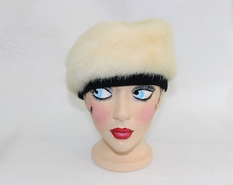 Fur Beret.  White Mink Hat Beret Cap with Black Trim and Lining.  1960's mink fur winter hat.