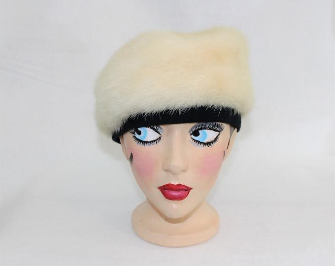 Fur Beret.  White Mink Hat Beret Cap with Black Trim and Lining.  1960's mink fur winter hat.