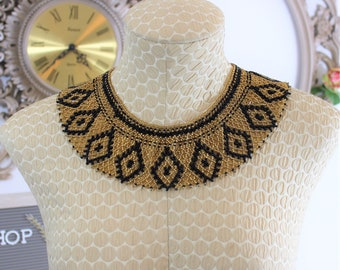 Vintage Beaded Statement Collar Applique or Necklace.  Gold and Black Beaded  Wide Collar.