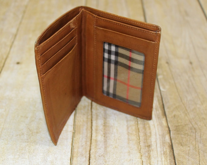 Men's Wallet Brown Leather.  Modus Vivendi vintage leather wallet with Plaid lining.  Soft mans wallet with Burberry like plaid interior.