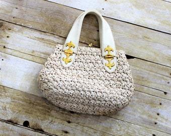 Morris Moskowitz Handbag.  Cream Colored Woven and Leather Purse with gold accents.  Vintage designer purse.