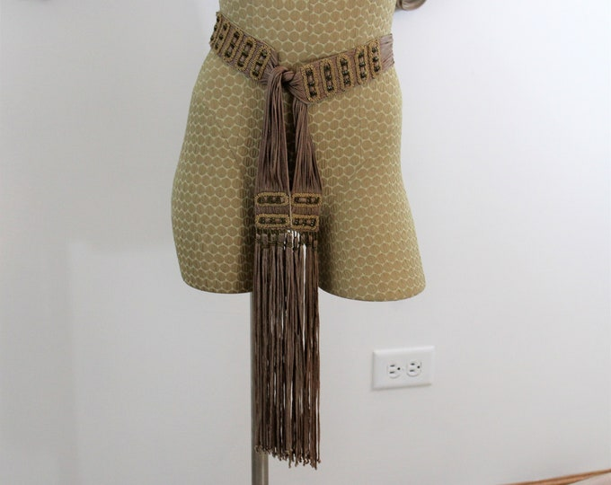 Beaded Belt by Diane Von Furstenberg.  Boho Designer Belt One size fits all with fringe and tassels.