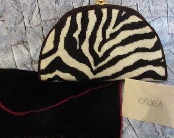 Patrick O'Dea hand made needlepoint zebra print bag.