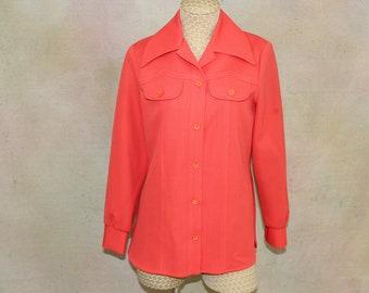 Vintage Bright Orange shirt, 1970's Fem-E-Nits Shirt Jacket with pointed Collar, orange knit blouse,