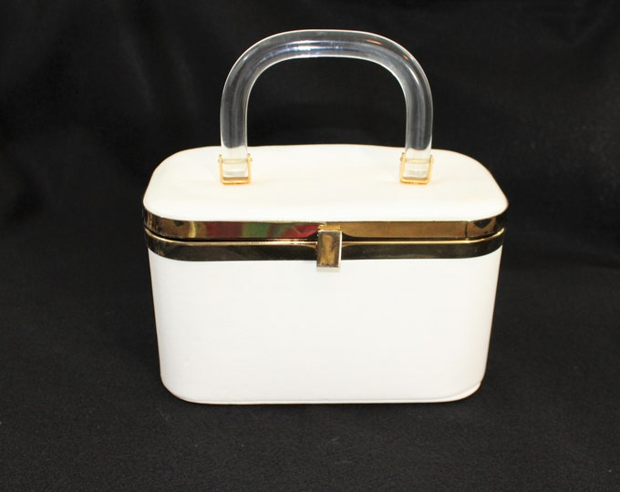 White purse with Lucite Handle. Vintage Box Handbag with Clear Lucite Handle by JR Miami. Purse with Lucite Handle.