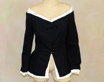 Peggy Jennings Amazing cocktail evening taffeta top portrait collar black and white size 10 made in America.